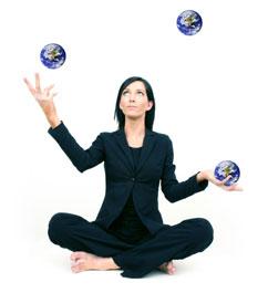yoga lady juggling