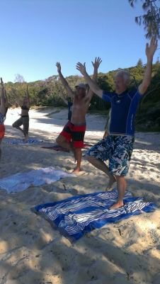 Tree pose - Beach Yoga Straddie 2015