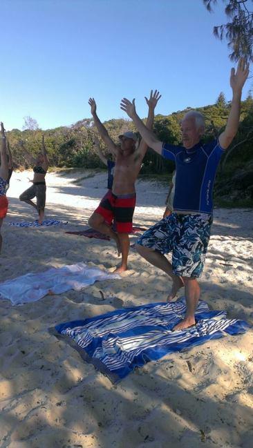 Tree pose - Beach Yoga Straddie 2015