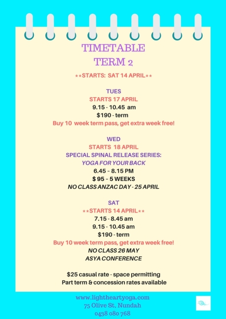 Timetable - Term 2