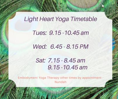 Light Heart Yoga Timetable