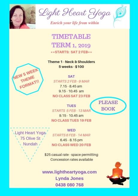 timetable - term 1, 2019